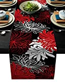 ARTSHOWING Floral Table Runners 18x72inch Decorative Table Runner for Dinner Parties & Events, Chrysanthemum Flower Red Black White