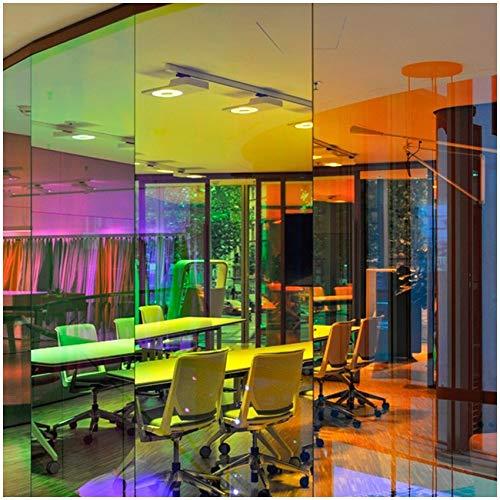 (29,95€/m²) Dichroic Flachglasfolie Gebäudefolie Fensterfolie 1 Meter Länge Folie Gebäude Fenster Glas Chameleon Regenbogen Effekt Effektfolie (Kuba, 98cm x 1m)