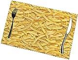 Tovagliette modello patatine fritte tovagliette per tavolo da pranzo set di 6, poliestere resistente al calore lavabile lavabile tovagliette da esterno moderne facile da pulire per