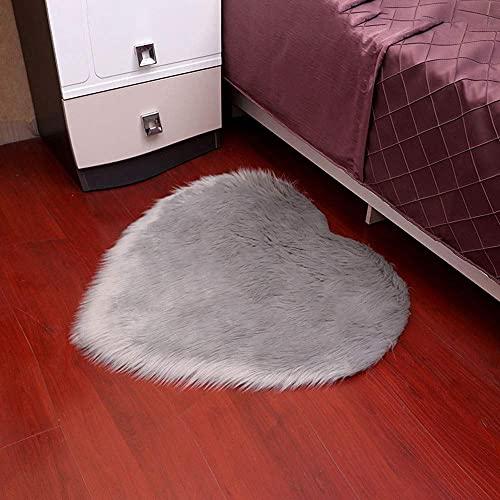 Hogreat Teppiche Teppich grau herzf?rmiger Plüsch rund rutschfest, Bodenmatte, Innendekoration, Wohnzimmer Couchtisch und Schlafzimmer Sofa Fu?Matte (Gr??e:50cm) (Size : 50cm)