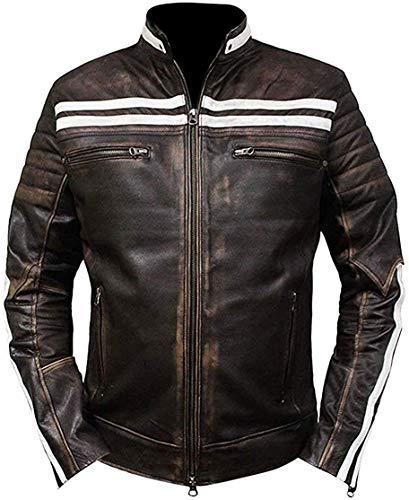 Chaqueta de piel auténtica para hombre, estilo retro, para motociclista, estilo retro, para motocicleta, estilo retro, para motociclista