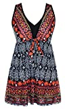 DANIFY Womens One Piece Swimsuit Plus Size Swimwear Cover up Beach Swimdress, IT52/US18, Red Floral