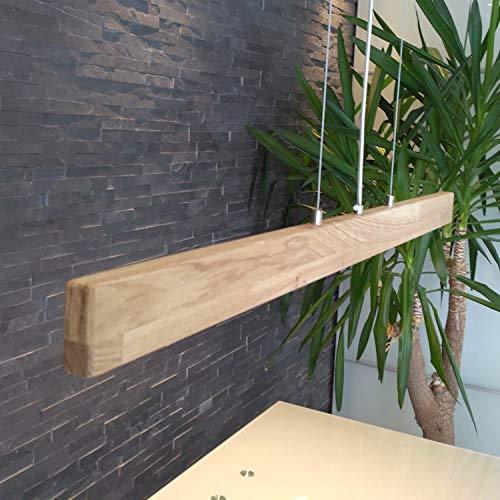 XXL LED Holzleuchte Hängelampe aus Holz Eiche geölt Hängeleuchte 120 cm Pendelleuchte Massiv (dimmbar 2520 Lumen)