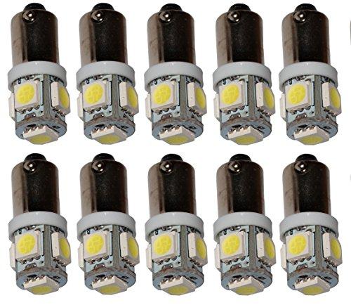 AERZETIX: 10 x Bombillas blanco T4W T5W BA9s 12V 5LED SMD con efecto Xenon para iluminacion interior, luz del techo, luces umbrales de puertas, del compartimiento del motor y del maletero, luz de matricula