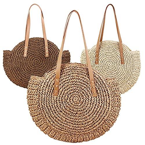 Onwaymall Bolso redondo de paja para mujer, estilo hobos y bolsos de hombro, bolso grande de piel de playa de verano (3 unidades, al azar)