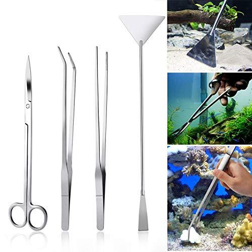 Czemo Aquarium Aquascaping Kit de Acero Inoxidable Acuario Tanque Planta Acuática Herramientas Conjuntos Pinzas, Tijera, Espátula