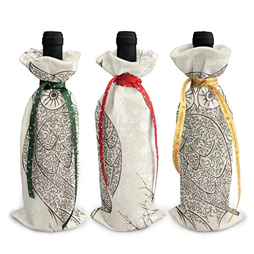 3pcs Christmas Wine Bottle Cover 3d Owl On Vintage Wall Wines Bottles Decoration Bags For Xmas New Year Party Birthday Dinner