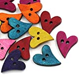 ROSENICE Bottoni in Legno Colorati a Forma di Cuore Pulsanti Bottoni Decorativi da Cucire (100pcs)