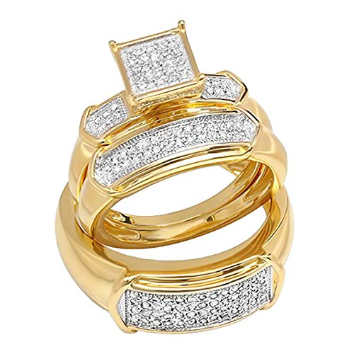 Dazzlingrock Collection 0.30 Carat (ctw) Round Diamond Men & Women Square Shape Wedding Trio Ring Set 1/3 CT, 18K Yellow Rhodium Plated Sterling Silver