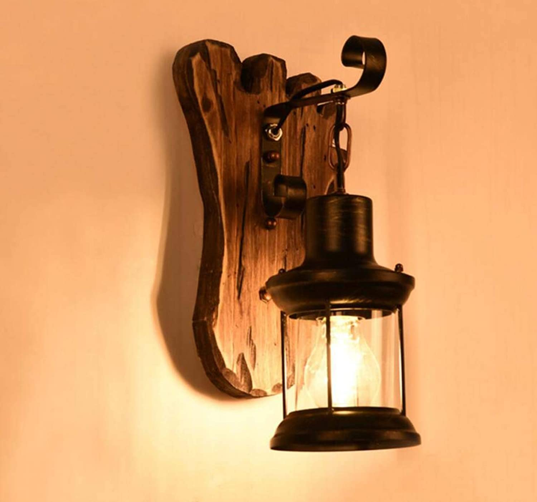 Antike Wandlampe, Retro Vintage LED Wandlampe, Single Ended Holzglas Wandlampe, American Land Wand Gang Korridor Tee Restaurant Wandleuchte 150  360 (mm) Birne nicht inbegriffen XIOAXIOA