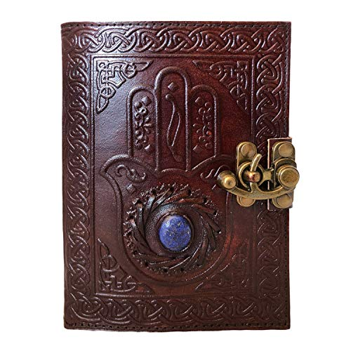 Leather Journal Embossed Hamsa Hand Third Eye Writing Notebook Sketch Book Leather Bound Notepad Unlined Paper 5x7 inch Ideal Gift for All
