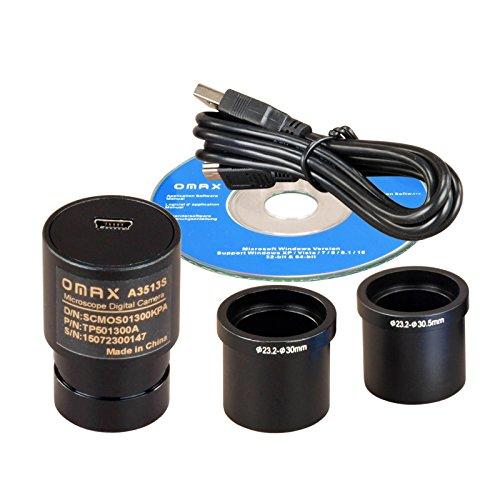 OMAX 1.3MP USB Digital Microscope Camera Compatible with Windows XP Through Windows 10