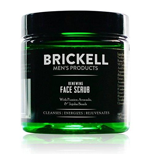 Brickell Men's Renewing Face Scrub - Natürliches und organisches Gesichtspeeling für Männer - Porentiefe Gesichtsreinigung mit Jojoba Perlen, Kaffee-Extrakt und Bimsstein - 118 ml - Parfümiert