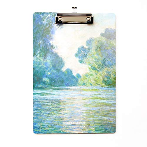 Letter Size Clipboard 12.4�8.5 inches - Colorful Art A4 Paper Clipboard with Low Profile Clip - Cute Decorative Clipboard for School Office Nurses (1 Pack Seine River Clipboard)