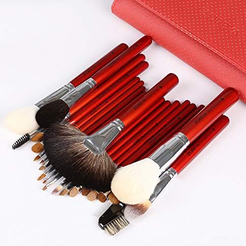 Ensemble de pinceaux de maquillage synthétiques haut de gamme Kabuki - Poudre pour le visage - Pinceau fard à paupières rouge avec éponge mélangeur et pinceau - Kit de pinceaux de maquillage pour œufs