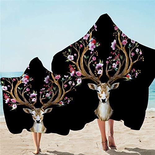 Elk - Toalla con capucha para adultos con capucha y ciervos de microfibra para playa