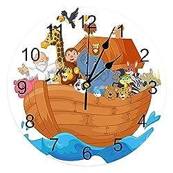 QINGQING Wall Clock Noah's Ark Cartoon Boat Animal PVC Wall Clock Modern Design Home Decor Bedroom Silent Oclock Watch Wall for Living Room for Office/Kitchen/Bedroom/School Decorative