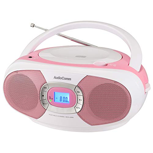 オーム電機 AudioComm ポータブルCDプレーヤー CDラジオ ステレオ ピンク RCR-220N-P 03-7232 OHM