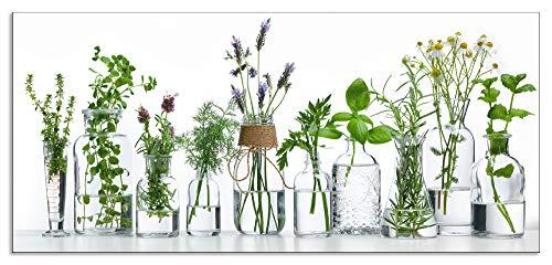 Artland Design Spritzschutz Küche I Alu Küchenrückwand Herd Botanik Pflanzen Kräuter Fotografie Grün H9KE Flasche ätherischen Ölen mit Kräutern auf weißem Hintergrund
