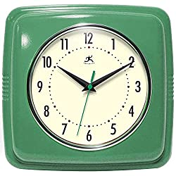 Infinity Instruments Square Silent Retro 9 inch Mid Century Modern Kitchen Diner Retro Wall Clock Quartz Sweep Movement (Green)