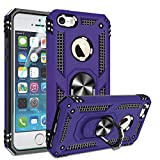 Compatible for iPhone 5 Case, iPhone 5S Case, iphnoe SE Case with HD Screen Protector, Gritup Military-Grade Shockproof Phone Case with Magnetic Kickstand Ring for Apple iPhone 5/5S/SE Purple