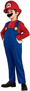 Unbranded Kids Super Mario Brothers Luigi Fancy Dress Boys Girls Halloween Party Costume
