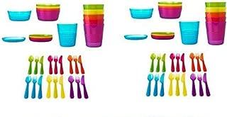 Ikea 72Pcs Kalas Kids Plastic BPA Free Flatware, Bowl, Plate, Tumbler Set, Colorful (72 Piece)