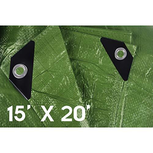 Hanjet Waterproof tarps Tarpaulin 15 x 20 5 Mil Thick Camping Poly Tarp Army Green