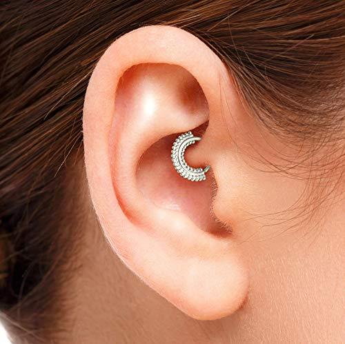 Daith Earring: Indian Style 925 Sterling Silver Handmade Ear Piercing Jewelry Ring in 20 Gauge 5/16 Inch, by Studio Meme