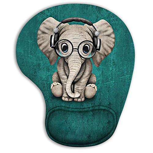 Green Pattern Headset Music Elephant Ergonomic Mouse Pad with Gel Wrist Rest Support,Gaming Mouse Pad with Lycra Cloth, Non-Slip PU Base for Computer