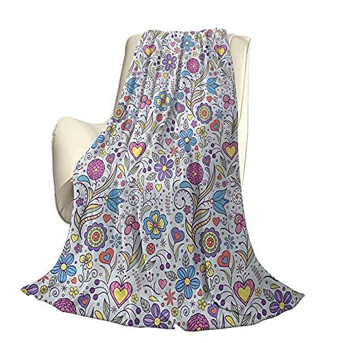 Pastel Confortable Home Series Couvertures Pivoines Marguerites Tulipes Coloré Style Doodle Joli Jardin Botanique avec Formes de Coeur Léger pour Salon L80 x L60 Pouce Multicolore