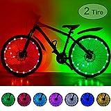 HOOMIL Luces LED impermeables para rueda de bicicleta, 7 colores intercambiables, ultra brillantes, coloridas, para rueda de bicicleta, radios, tira de luz para niños y adultos, 2-Tire Pack, 2-Tire Pack