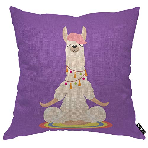 AOYEGO Yoga Llama Meditates Isolated Throw Pillow Cover Cute Cartoon Animal Relax Sit Funny Pillow Case 18x18 Inch Decorative Cotton Linen Square Cushion for Home Couch Bed
