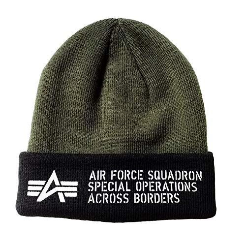 Alpha Air Force Beanie – Gorro acrílico con sobre impreso doble gris...