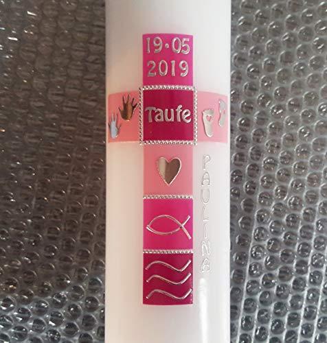 Taufkerze Kreuz, für Mädchen, handarbeit, rosa, pink, mehrere Größen zur Auswahl, modern, Kommunionkerze