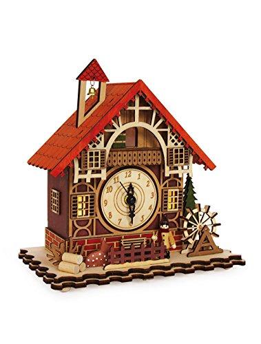 small foot 6384 Uhr Fachwerkhaus aus Holz, mit Kuckucks-Melodie zur vollen Stunde, mit 5 LED Lampen