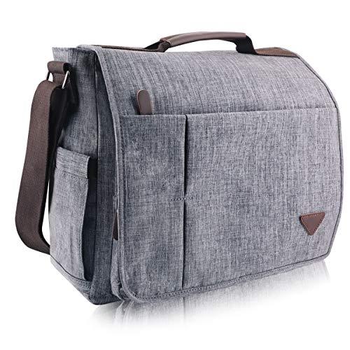 GENESS Herren Umhängetasche, Premium Messenger Bag Schultertasche Herrentasche, Kuriertasche Laptoptasche für Zoll Laptop, Unisex Casual Vintage Arbeitstasche Studententasche Umhänge Tasche (Grau)
