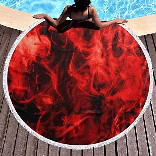 Red Fire Redonda Toalla de playa Manta Microfibra Terry Yoga Mat Toalla Playa suave Roundie Circle 59 Pulgadas Alfombra de picnic
