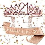 Finally 21 Sash & Rhinestone Tiara Set - 21st Birthday Gifts Decorations Birthday Sash for Her & Women & Girls & Daughter 21st Birthday Party Supplies