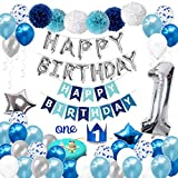 1st Birthday Decorations for Boys with Birthday Crown - First Birthday Boy Decorations - Birthday Party Supplies for 1 Year Old Kids with HAPPY BIRTHDAY Banner, Number One Balloon, Cake Topper