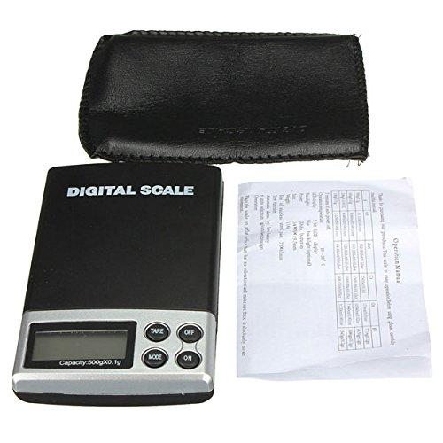 KUNSE 500G 0.1G LCD Electrónica Digital Mini Bolsillo Escala Joyería Peso Balanza Escala