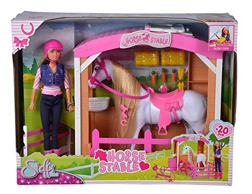 Simba Steffi Love Horse Stable - Establo para Caballos con Steffi en Traje de equitación, Caballo y Muchos Accesorios, 29 cm, Adecuado para niños a Partir de 3 años