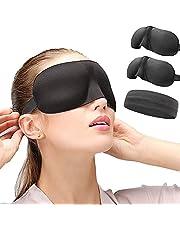 Sleep Mask 2 Pack,3D Contoured Sleep Eye Mask,Comfortable & Super Soft Sleeping Mask with Adjustable Straps for Women,Men,[Mask+Headband+Earplugs] for Sleeping Travel Yoga Naps