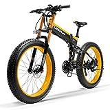 Nueva T750Plus bicicleta de eléctrica, bicicleta de nieve con sensor de asistencia a pedales de 5 niveles, batería de ion de litio de 48V 14.5Ah, mejorada horquilla (Amarillo, 1000W Estándar)