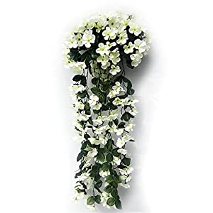 Artificial Violet Flower Wall Wisteria Basket Hanging Garland Vine Flowers Fake Silk Orchid Simulation Rattan Plant Vine Wedding Home Mounted Garden Balcony Wall Traling Floral Decoration (White)