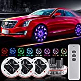 Yifengshun Wireless Remote Led Wheel Lights for Car,Flashing Colorful Solar Energy Car Tire Wheel Lights Hub LED Light with Motion Sensors,Waterproof LED Tire Lights for Car Deco-4Pcak