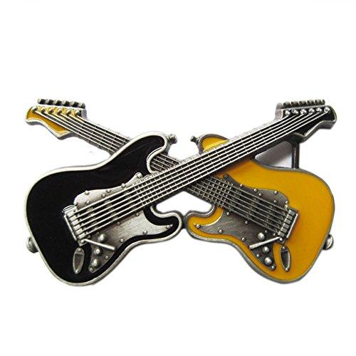 Gürtelschnalle für Gitarre, Vintage-Stil, Schwarz / Gelb, Emaille, Schwarz