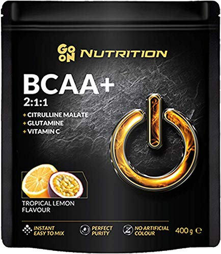 Go On Nutrition Amino Acid BCAA 2:1:1 Package of 1 x 400g Instant with Citrulline Glutamine Vitamin C and Leucine Valine Isoleucine - No Artificial Colors (Tropical Lemon)