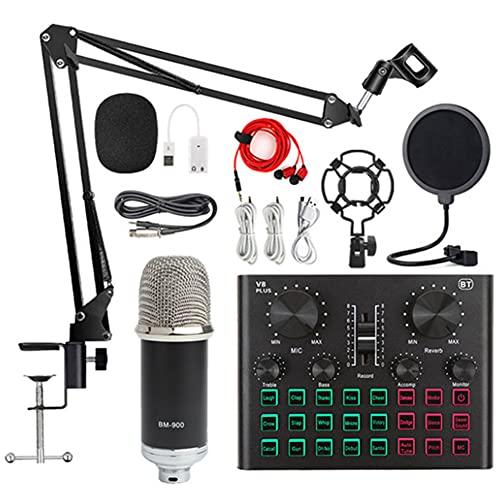 XIRENZHANG Paquete de micrófono con Condensador, Kit de micrófono con Tarjeta de Sonido en Vivo, Brazo de Tijera de suspensión de micrófono Ajustable, Conjunto de Tarjeta de so Silver