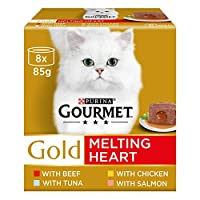 Our Gourmet Gold Melting Heart multipack contains delicious recipes with Beef, Chicken, Tuna, Salmon Complete pet food for adult cats 100% complete and balanced nutritional pet food for adult cats (aged 1 to 7) Offers your cat the pleasure of a delic...